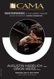 April 17, 2019—Augustin Hadelich, violin and Orion Weiss, piano—CAMA's Masterseries at The Lobero Theatre, Santa Barbara