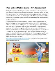 Play Online Mobile Game - CPL Tournament