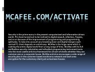 McAfee.com/Activate- Download & Activate McAfee for computers