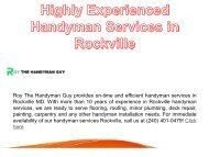 Highly Experienced Handyman Services in Rockville