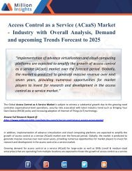 Access Control as a Service (ACaaS) Market Key Players, Industry Growth, Size, Share, Trends, Sales Forecast and Supply Demand to 2025