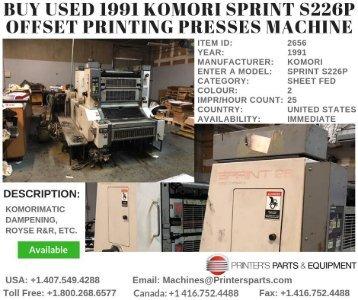 Buy Used 1991 Komori Sprint S226P Offset Printing Presses Machine