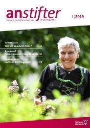 Anstifter 1, 2019 der Stiftung Liebenau Österreich