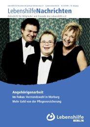 Zeitschrift für Mitglieder und Freunde des  ... - Lebenshilfe Berlin