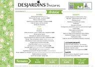 Carte brasserie - Desjardins