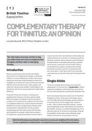 Complementary therapy for tinnitus an opinion Ver 2.0