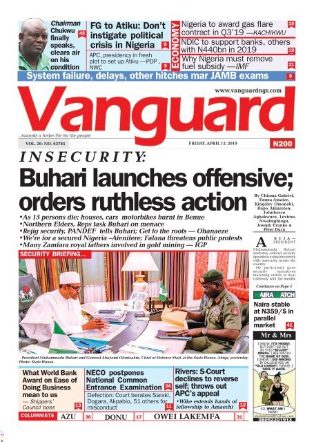 12042019 - I N S E C U R I T Y: Buhari launches offensive; orders ruthless action