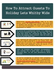 How To Attract Guests To Holiday Lets Whitby Wide