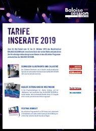 BALOISE SESSION 2019: Tarifdokumentation