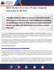 BBA Market Overview, Product Segment and Analysis till 2022
