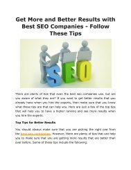 Get More and Better Results with Best SEO Companies