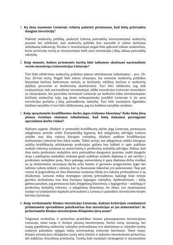 Atsakymai investuotojamas p. G. Nausėda