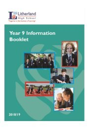 LHS Year 9 Information Booklet 2018-19
