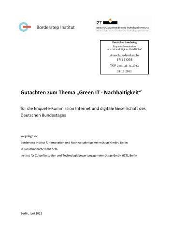 """Gutachten zum Thema """"Green IT - Nachhaltigkeit"""" - Deutscher ..."""