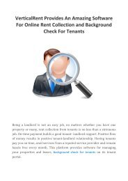 VerticalRent Provides An Amazing Software For Online Rent Collection and Background Check For Tenants