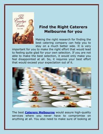 Find the Right Caterers Melbourne for you