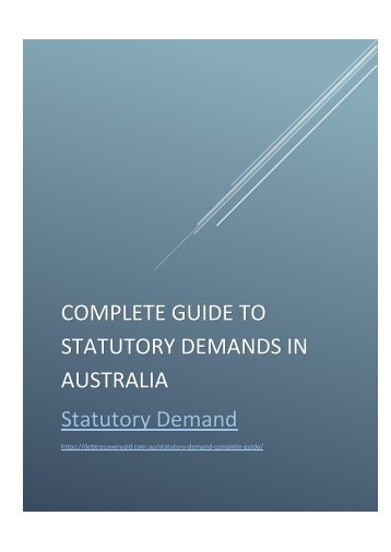 Statutory Demand Law in Australia