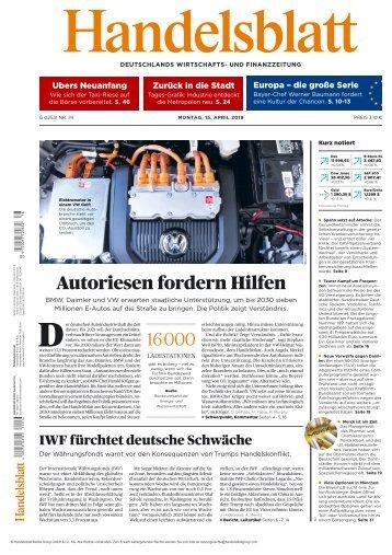 Handelsblatt 15.04.2019