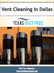 Vent Cleaning In Dallas