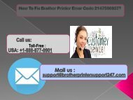 Call 1-888-877-0901 To Fix Brother Printer Error Code 2147500037