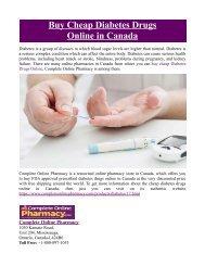 Buy Cheap Diabetes Drugs Online in Canada