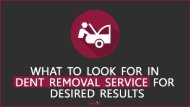 What To Look For In Dent Removal Service
