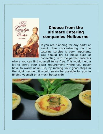 Choose from the ultimate Catering companies Melbourne