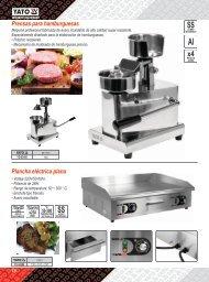 Catalogo de Prensa y Planchas para Hamburguesas Profesionales Yato Gastro Carbone
