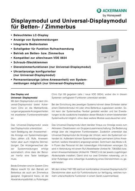 Displaymodul und Universal-Displaymodul für Betten- / Zimmerbus