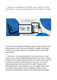 DENTAL WEBSITE TEMPLATES MEAN LOW BUDGETS AND SHORTER DEVELOPMENT TIME