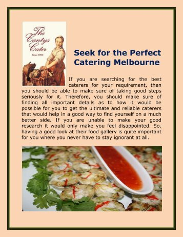 Seek for the Perfect Catering Melbourne
