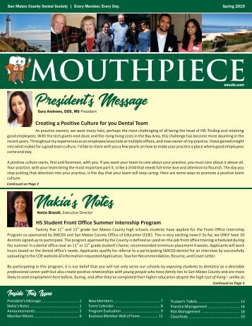 VERSION 1 - 2019 Spring SMCDS Mouthpiece Newsletter