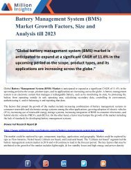 Battery Management System (BMS) Market Growth Factors, Size and Analysis till 2023