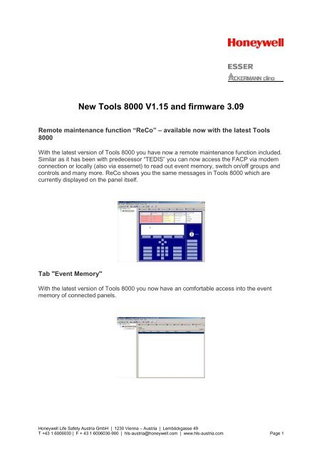 New Tools 8000 V1.15 and firmware 3.09 - Honeywell Life Safety ...