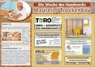 Woche des Handwerks: Maurer / Trockenbau