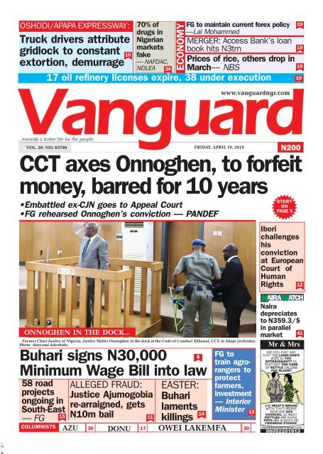 19042019 - CCT axes Onnoghen, to forfeit money, barred for 10 years