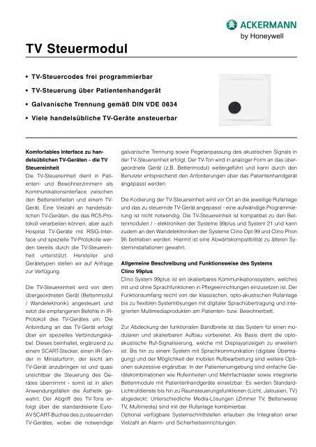 TV Steuermodul - Honeywell Life Safety Austria and