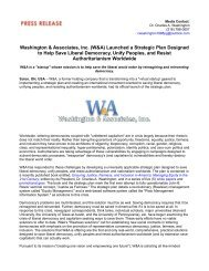 Washington & Associates, Inc. (W&A) Launched a Strategic Plan Designed to Help Save Liberal Democracy, Unify Peoples, and Resist Authoritarianism Worldwide