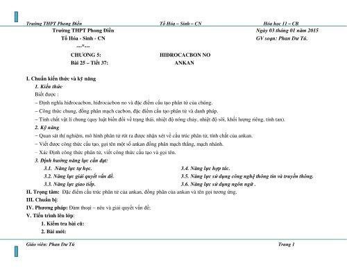 GA HÓA HỌC 11 CB 3 CỘT HK2 THEO ĐỊNH HƯỚNG NĂNG LỰC GV SOẠN PHAN DƯ TÚ TRƯỜNG THPT PHONG ĐIỀN