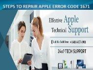 STEPS TO REPAIR APPLE ERROR CODE 1671