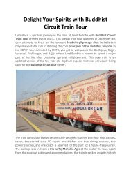 Delight Your Spirits with Buddhist Circuit Train Tour