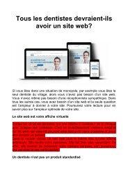 Tous les dentistes devraient-ils avoir un site web?