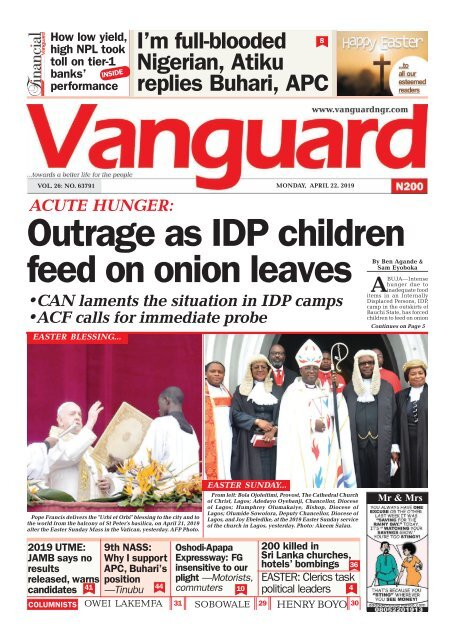 22042019 -  ACUTE HUNGER: Outrage as IDP children feed on onion leaves