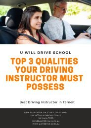 Top 3 Qualities Your Driving Instructor Must Possess - U Will Drive School
