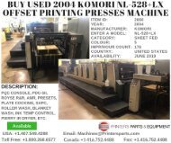 Subject: new offers of used printing machinery - Pressresale com