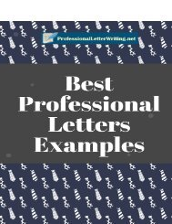 Best Professional Letters Examples