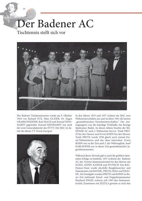 90 Jahre Badener AC - Tischtennis