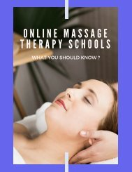 Online Massage Therapy Schools - What You Should Know?