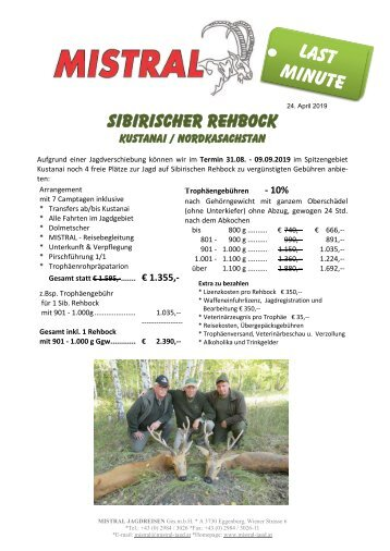 Sib. Rehbock - Last Minute Angebot - per 24. April