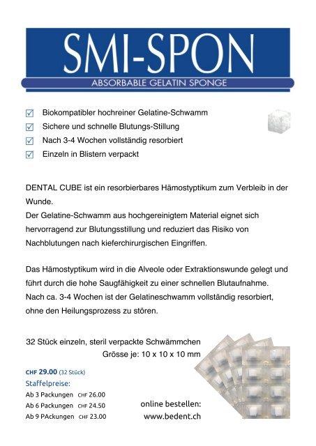 Dental-Cube Gelatine-Schwamm zur Blutstillung